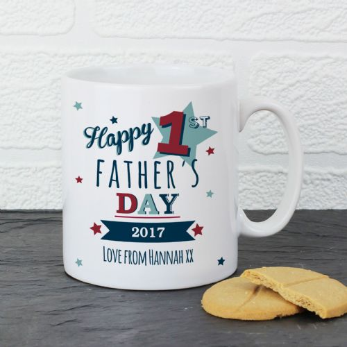 Happy 1st Fathers Day Gift - Personalised Mug Any Name Any Message for Daddy